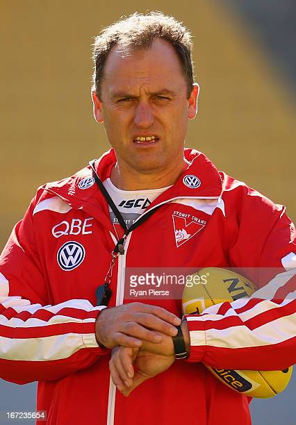 John Longmire coach of the Swans looks on during a Sydney Swans AFL training session at Westpac Stadium on April 23 2013 in Wellington New Zealand...