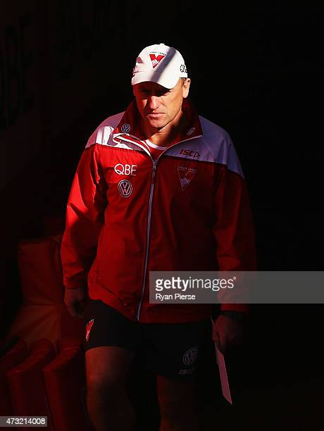 John Longmire coach of the Swans looks on during a Sydney Swans AFL training session at Sydney Cricket Ground on May 14 2015 in Sydney Australia