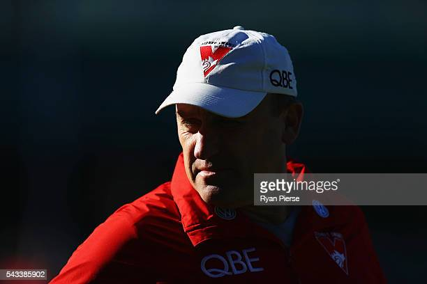 John Longmire coach of the Swans looks on during a Sydney Swans AFL training session at Sydney Cricket Ground on June 28 2016 in Sydney Australia