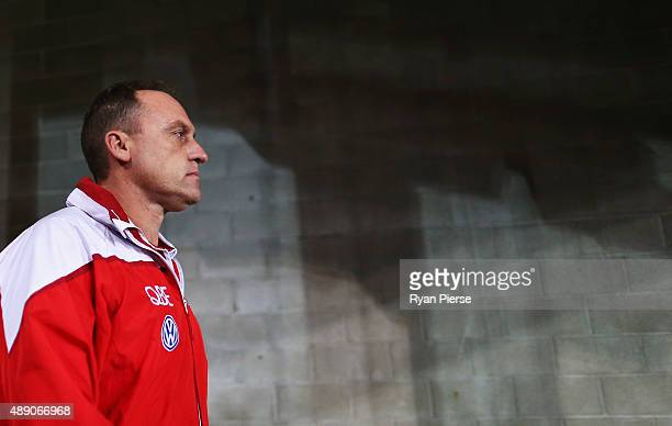 John Longmire coach of the Swans looks on during the First AFL Semi Final match between the Sydney Swans and the North Melbourne Kangaroos at ANZ...