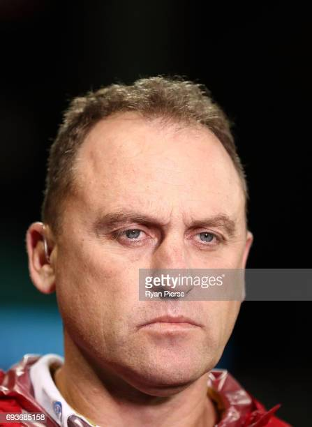 John Longmire coach of the Swans looks on during the round 12 AFL match between the Sydney Swans and the Western Bulldogs at Sydney Cricket Ground on...