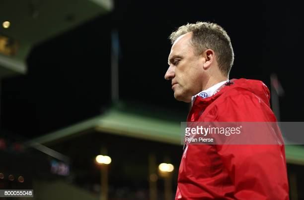 John Longmire coach of the Swans looks on during the round 14 AFL match between the Sydney Swans and the Essendon Bombers at Sydney Cricket Ground on...