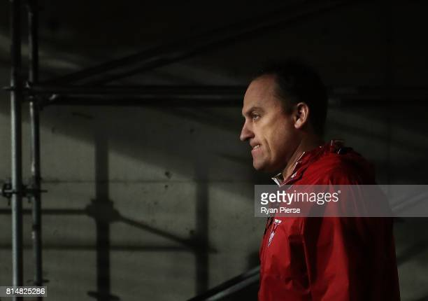 John Longmire coach of the Swans looks on during the round 17 AFL match between the Greater Western Sydney Giants and the Sydney Swans at Spotless...