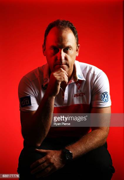 John Longmire coach of the Swans poses during a portrait session at the SCG on February 14 2017 in Sydney Australia