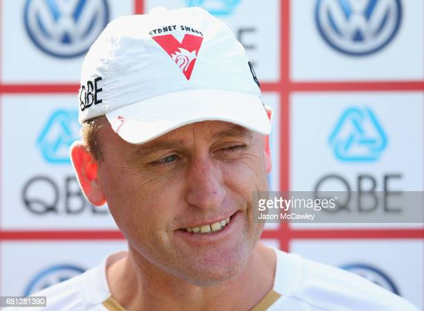 John Longmire head coach of the Swans speaks to the media prior to a Sydney Swans AFL training session at Sydney Cricket Ground on May 10 2017 in...