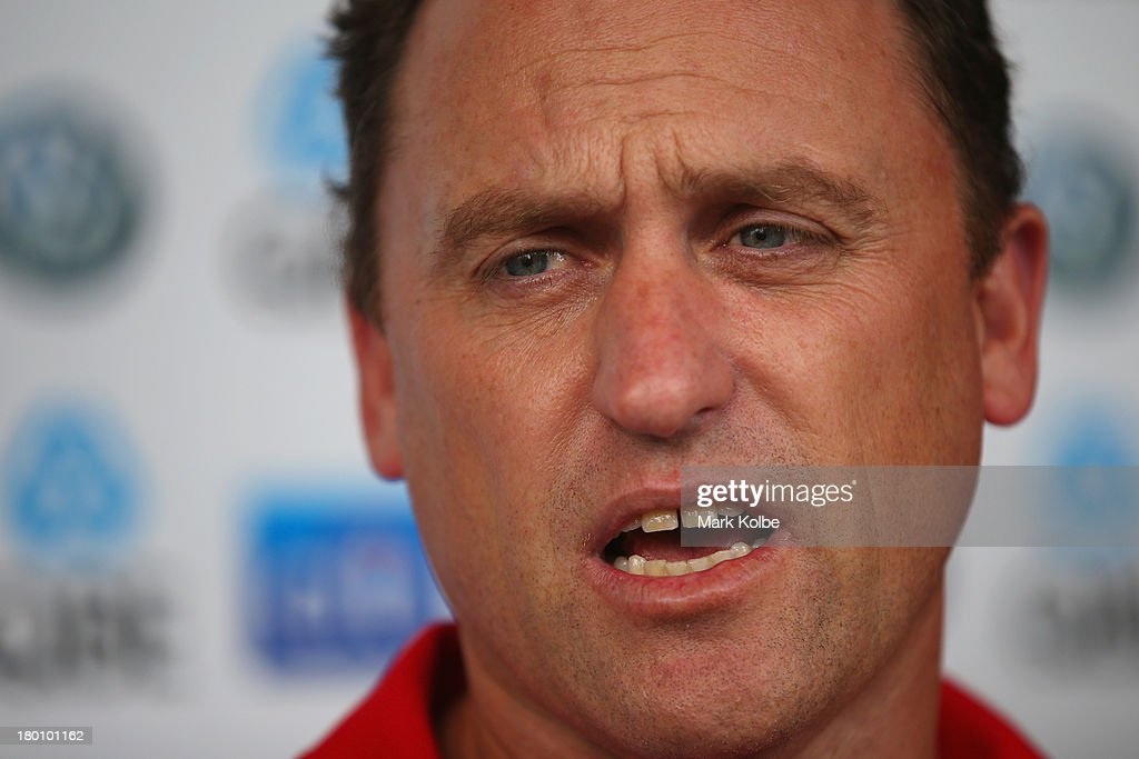 John Longmire speaks to the media during a Sydney Swans AFL media session at Sydney Cricket Ground on September 9, 2013 in Sydney, Australia.