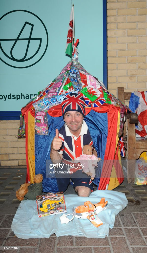 John Loughrey of Wandsworth camping out for the Royal birth at St. Mary's Hospital on July 17, 2013 in London, England.