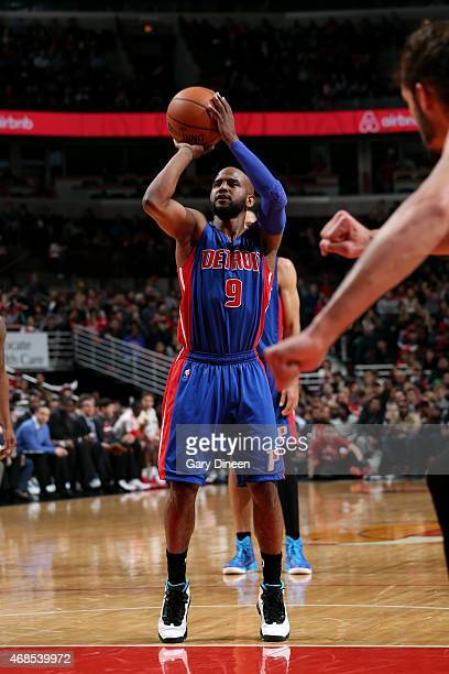 John Lucas III of the Detroit Pistons attempts a free throw against the Chicago Bulls on April 3 2015 at the United Center in Chicago Illinois NOTE...