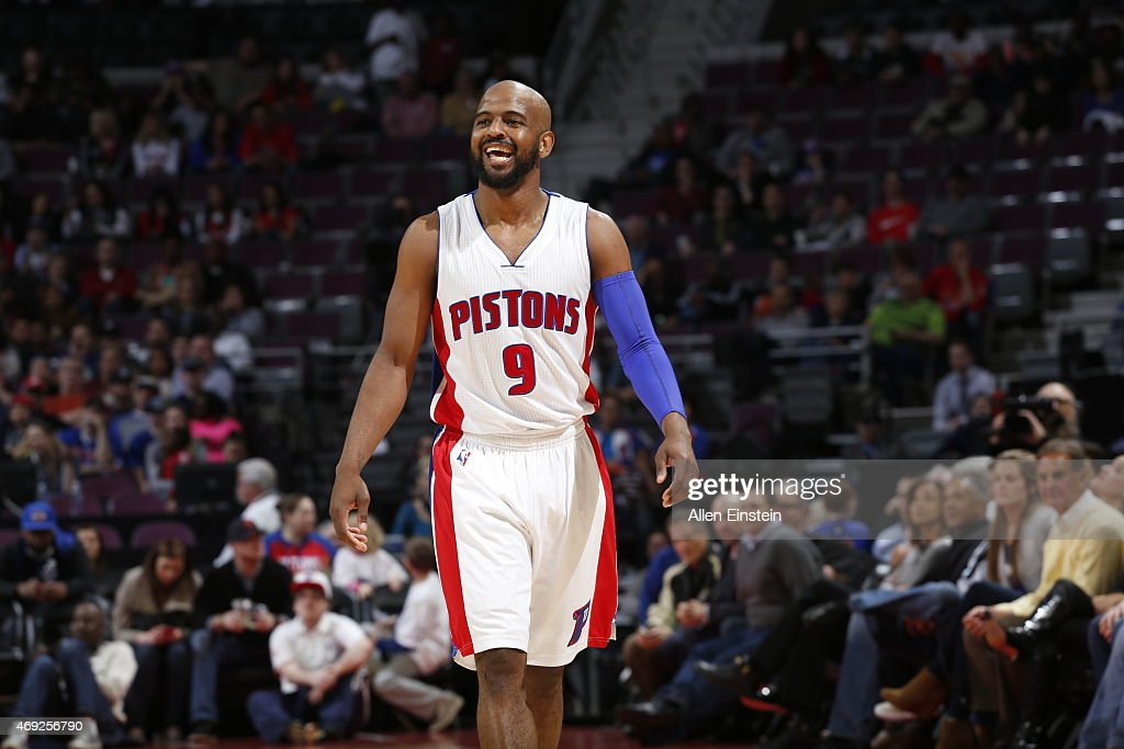 <a gi-track='captionPersonalityLinkClicked' href=/galleries/search?phrase=John+Lucas+III&family=editorial&specificpeople=784337 ng-click='$event.stopPropagation()'>John Lucas III</a> #9 of the Detroit Pistons during the game against the Indiana Pacers on April 10, 2015 at The Palace of Auburn in Detroit, Michigan.