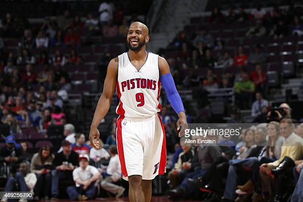 John Lucas III of the Detroit Pistons during the game against the Indiana Pacers on April 10 2015 at The Palace of Auburn in Detroit Michigan NOTE TO...