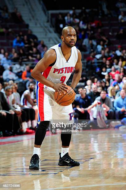 John Lucas III of the Detroit Pistons handles the ball against the Miami Heat on February 3 2015 at The Palace of Auburn Hills in Auburn Hills...