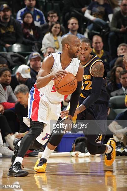 John Lucas III of the Detroit Pistons handles the ball against the Indiana Pacers during the game on February 4 2015 at Bankers Life Fieldhouse in...