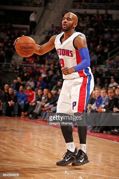 John Lucas III of the Detroit Pistons handles the ball against the Cleveland Cavaliers on February 24 2015 at The Palace of Auburn in Hills in...