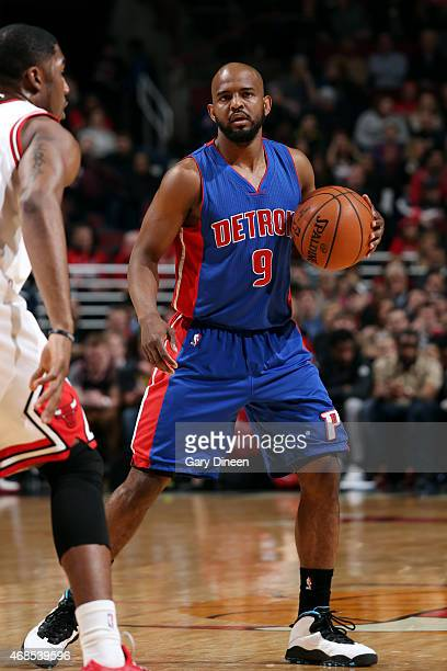 John Lucas III of the Detroit Pistons handles the ball against the Chicago Bulls on April 3 2015 at the United Center in Chicago Illinois NOTE TO...