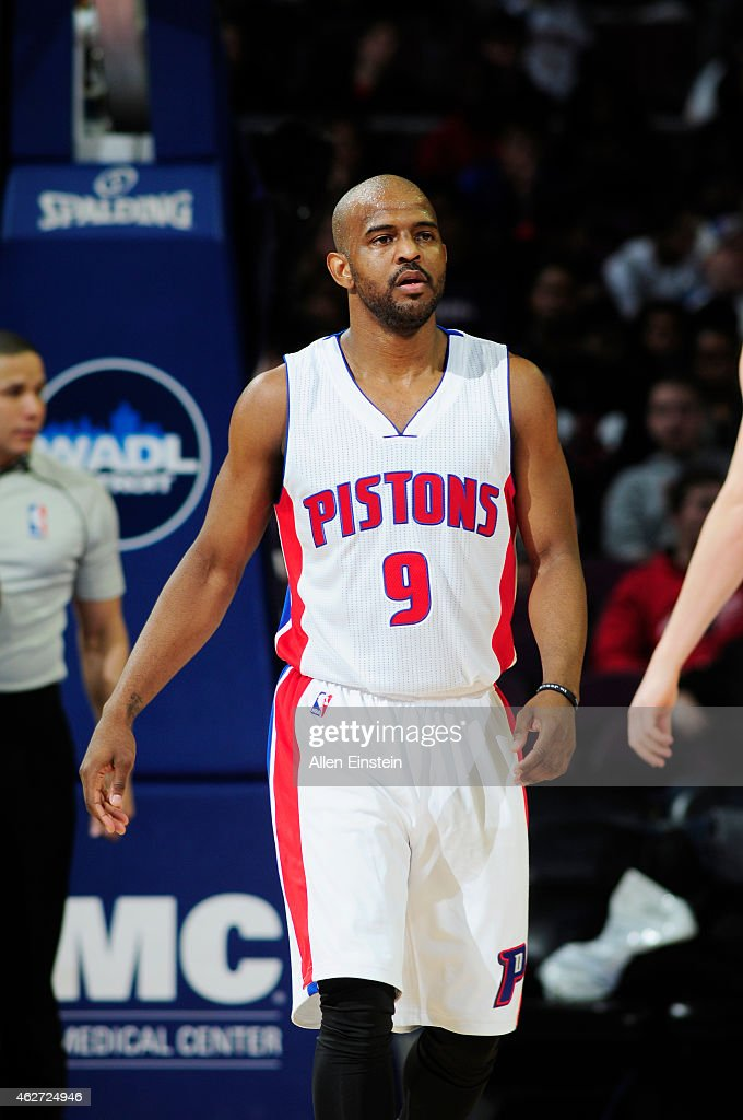 <a gi-track='captionPersonalityLinkClicked' href=/galleries/search?phrase=John+Lucas+III&family=editorial&specificpeople=784337 ng-click='$event.stopPropagation()'>John Lucas III</a> #9 of the Detroit Pistons during the game against the Miami Heat on February 3, 2015 at Palace of Auburn Hills in Detroit, Michigan .