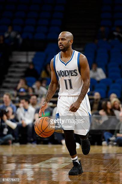 John Lucas III of the Minnesota Timberwolves brings the ball down court against the Memphis Grizzlies during the preseason game on October 19 2016 at...