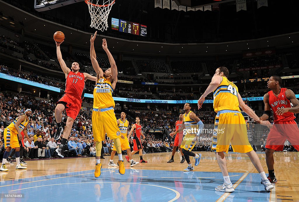 John Lucas III #5 of the Toronto Raptors goes in for the easy bucket versus the Denver Nuggets on December 3, 2012 at the Pepsi Center in Denver, Colorado.