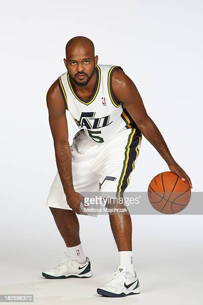 John Lucas III of the Utah Jazz dribbles the ball during a photo shoot at the 2013 Media Day at Zions Basketball Center on September 30 2013 in Salt...