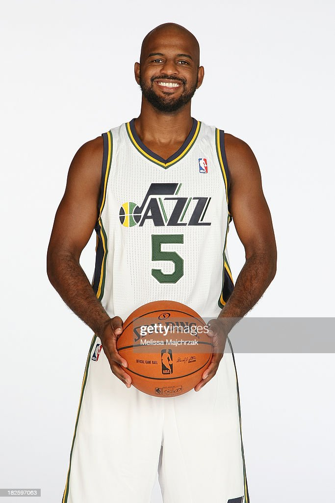 <a gi-track='captionPersonalityLinkClicked' href=/galleries/search?phrase=John+Lucas+III&family=editorial&specificpeople=784337 ng-click='$event.stopPropagation()'>John Lucas III</a> #5 of the Utah Jazz poses for a photo during 2013 Media Day at Zions Basketball Center on September 30, 2013 in Salt Lake City, Utah.