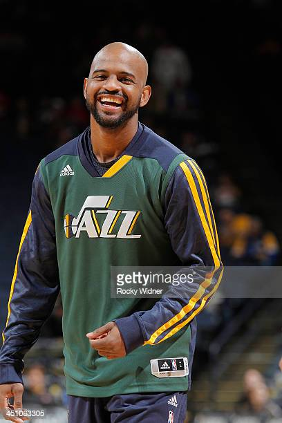 John Lucas III of the Utah Jazz warms up prior to the game against the Golden State Warriors on November 16 2013 at Oracle Arena in Oakland...