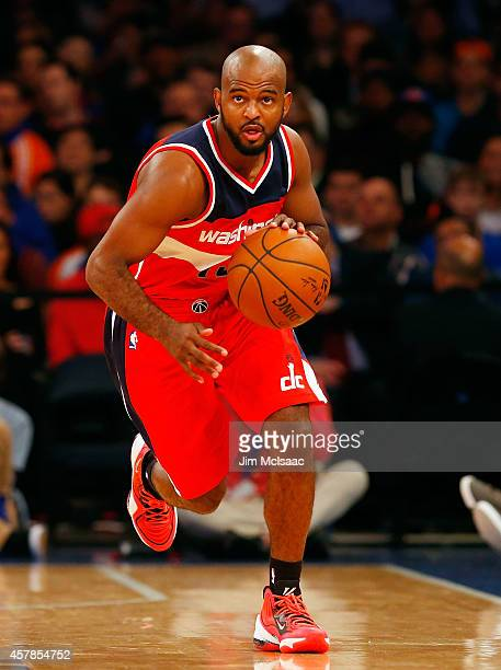 John Lucas III of the Washington Wizards in action against the New York Knicks at Madison Square Garden on October 22 2014 in New York City The...