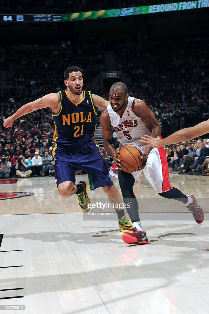 John Lucas #5 of the Toronto Raptors drives to the basket against the New Orleans Hornets on February 10, 2013 at the Air Canada Centre in Toronto, Ontario, Canada.