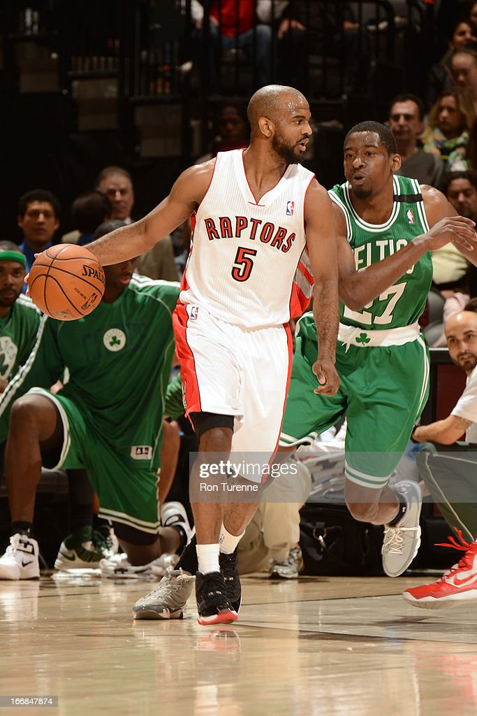 John Lucas #5 of the Toronto Raptors handles the ball against the Boston Celtics on April 17, 2013 at the Air Canada Centre in Toronto, Ontario, Canada.