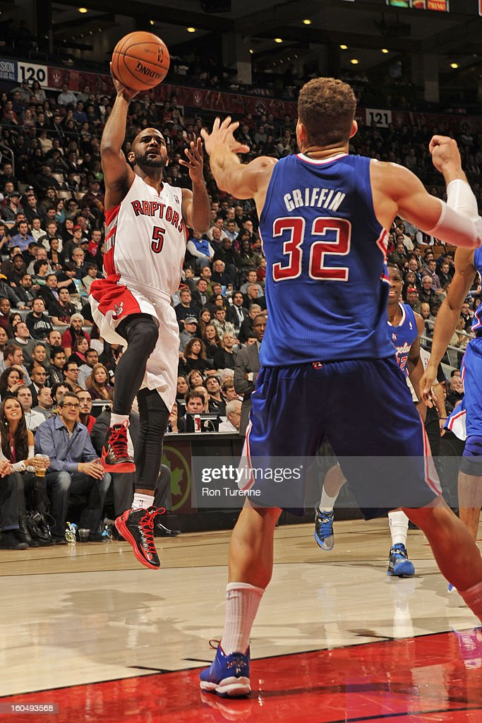 John Lucas #5 of the Toronto Raptors puts up a shot against the Los Angeles Clippers on February 1, 2013 at the Air Canada Centre in Toronto, Ontario, Canada.