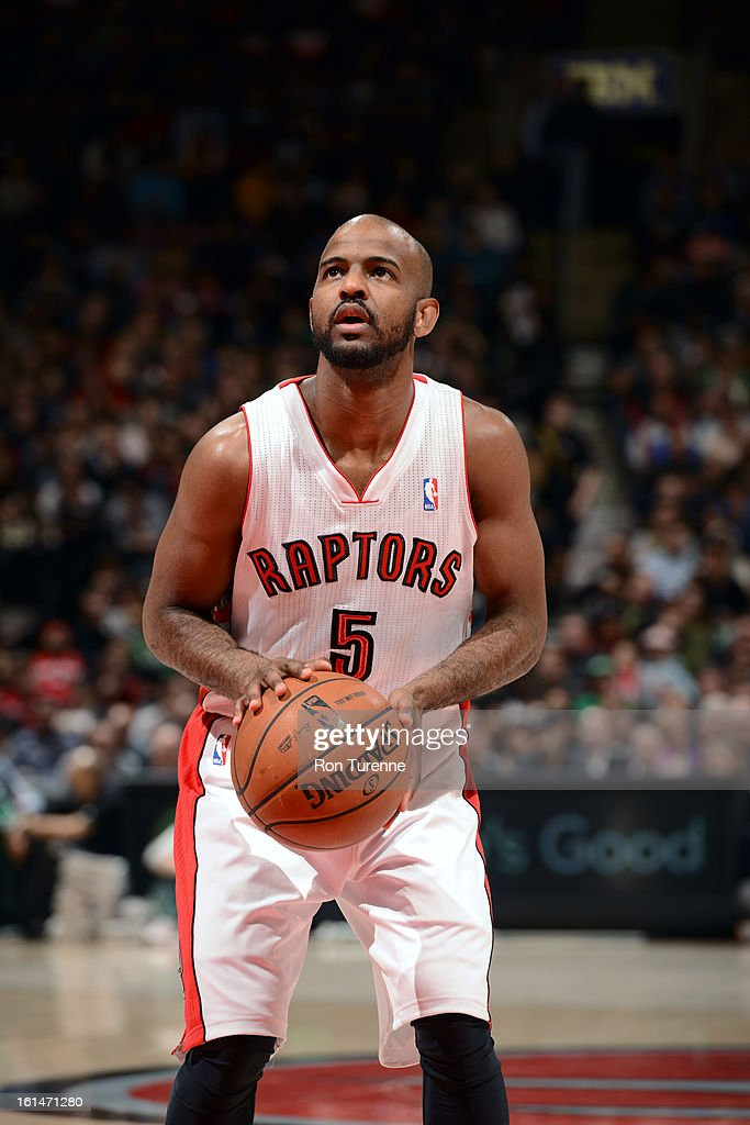 John Lucas #5 of the Toronto Raptors takes a foul shot against the Boston Celtics during the game on February 6, 2013 at the Air Canada Centre in Toronto, Ontario, Canada.