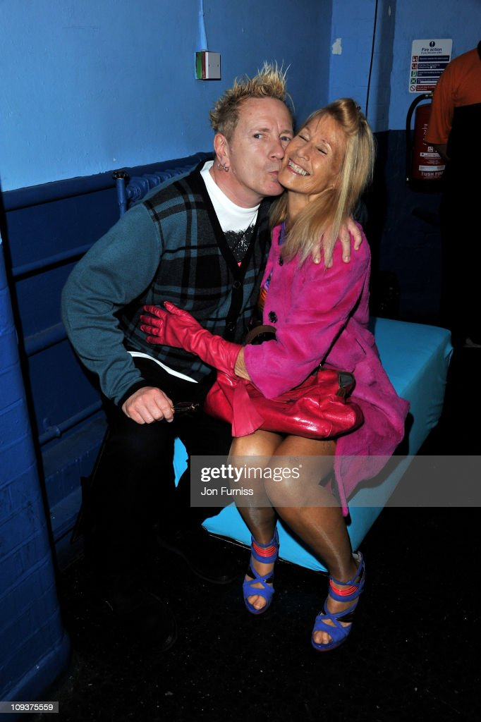 John Lydon and his wife Nora Forster pose backstage during the NME Awards 2011 at Brixton Academy on February 23, 2011 in London, England.