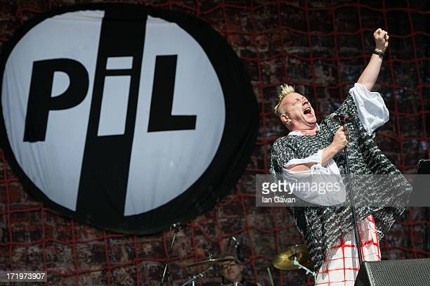 John Lydon of Public Image Ltd performs on the Other Stage during day 4 of the 2013 Glastonbury Festival at Worthy Farm on June 29 2013 in...