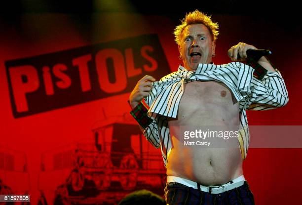 John Lydon of the Sex Pistols performs at the Isle of Wight Festival June 14 2008 in Newport Isle of Wight England The festival attended by 50000...