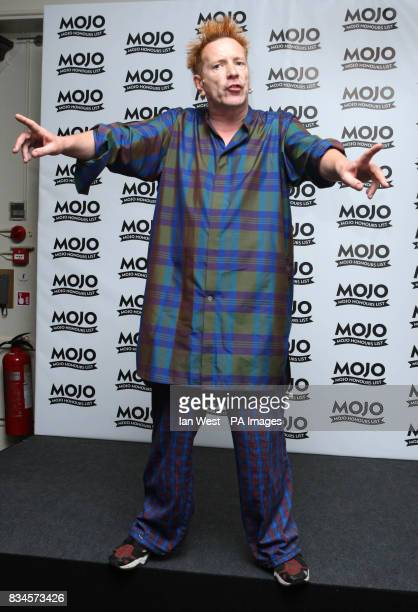 John Lydon of the Sex Pistols with the MOJO Icon Award during the Mojo Honours List award ceremony at The Brewery east London