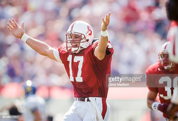 John Lynch of the Stanford Cardinal celebrates during an NCAA football game against the San Jose State Spartans played on September 26 1992 at...