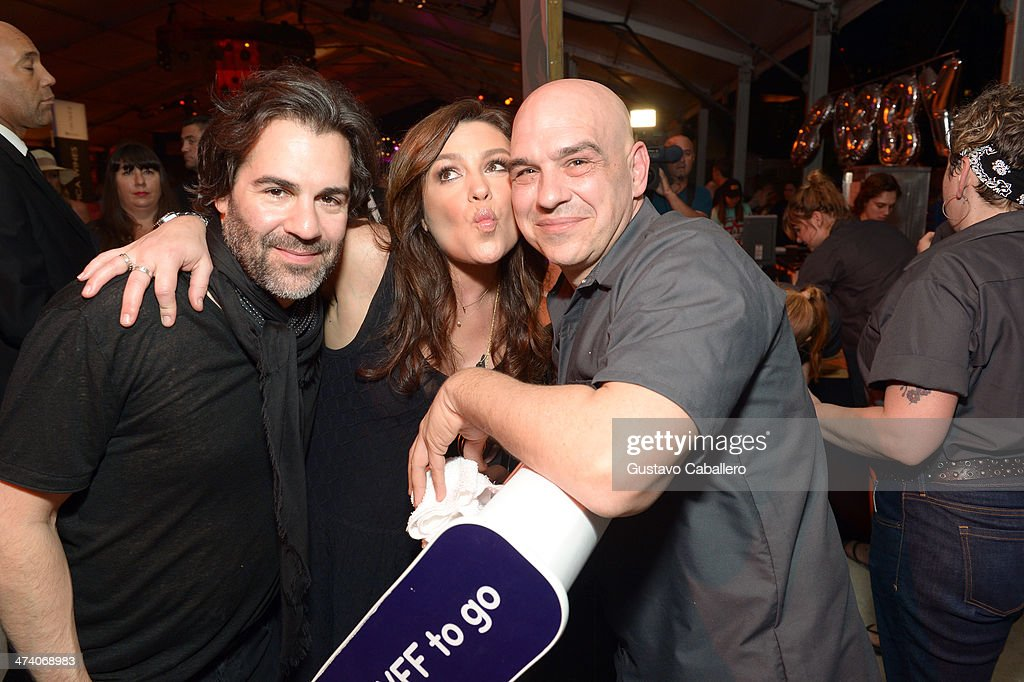 John M. Cusimano, Rachael Ray, and Michael Symon attend Amstel Light Burger Bash presented by Pat LaFrieda Meats hosted by Rachael Ray during the Food Network South Beach Wine & Food Festival at Beachside at The Ritz Carlton on February 21, 2014 in Miami Beach, Florida.