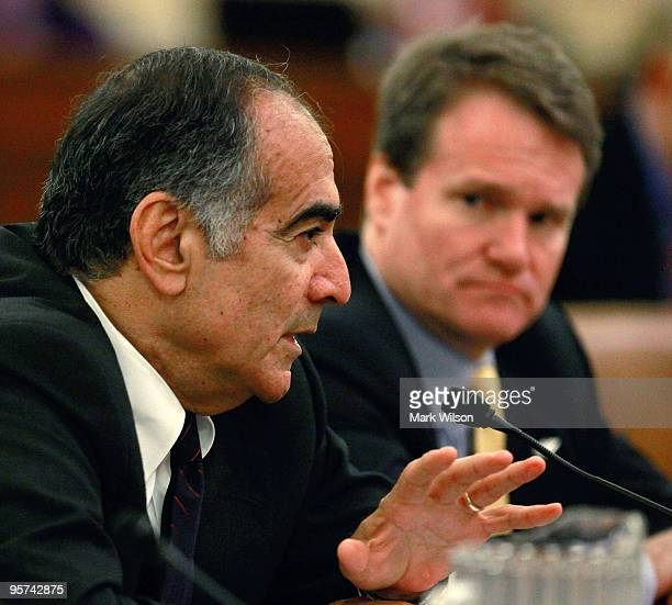 John Mack chairman of the Board of Morgan Stanley and Brian Moynihan CEO and president of the Bank of America Corporation participate in a Financial...