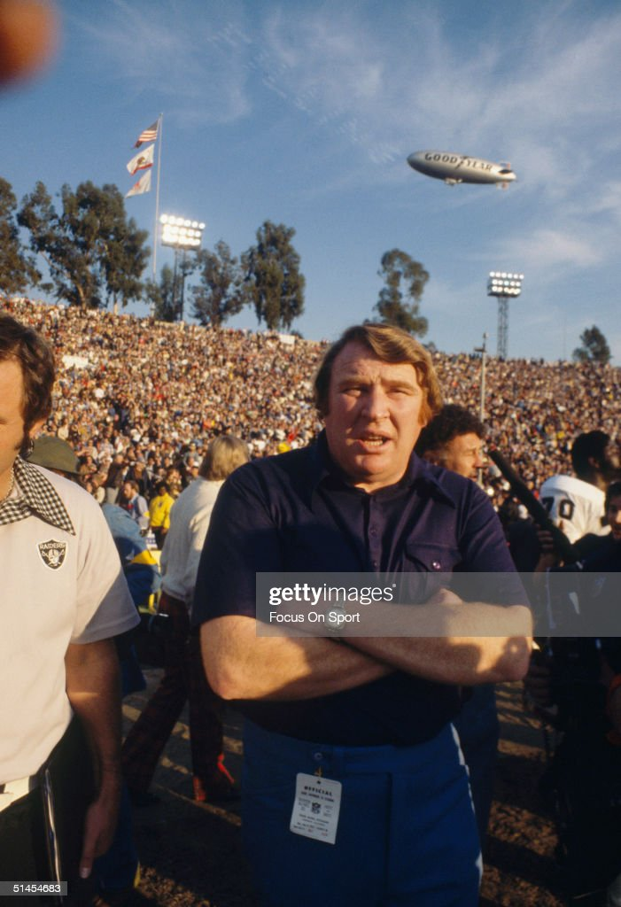 <a gi-track='captionPersonalityLinkClicked' href=/galleries/search?phrase=John+Madden+-+American+Football+Personality&family=editorial&specificpeople=14045890 ng-click='$event.stopPropagation()'>John Madden</a> head coach for the Oakland Raiders preps to celebrate winning Super Bowl XI against the Minnesota Vikings at the Rose Bowl on January 9, 1977 in Pasadena, California. The Raiders defeated the Vikings 32-14.