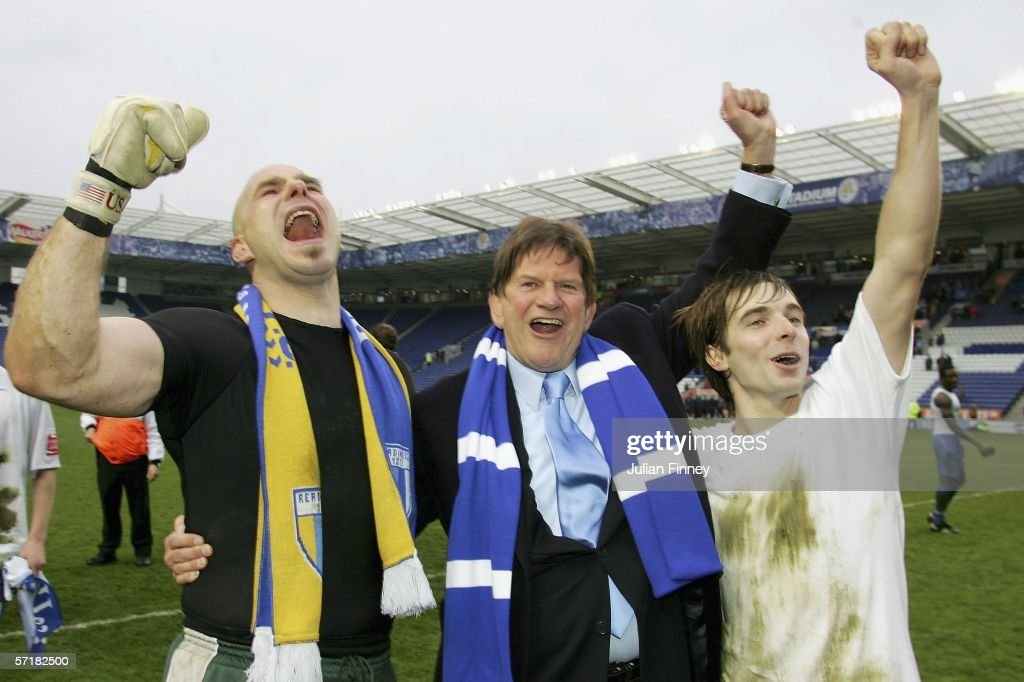 John Madejski chairman of Reading celebrates with goalkeeper Marcus Hahnemann and Bobby Convey after gaining promotion to the premiership after the...