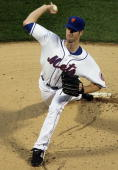 John Maine of the New York Mets delivers a pitch against the Florida Marlins on April 7 2010 at Citi Field in the Flushing neighborhood of the Queens...