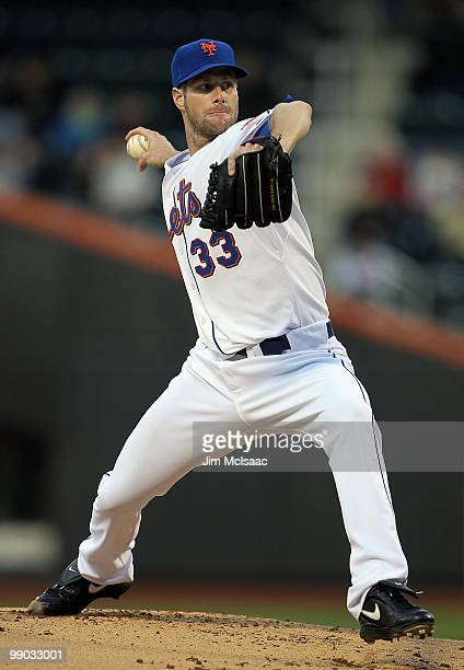 John Maine of the New York Mets delivers a pitch against the Washington Nationals on May 10 2010 at Citi Field in the Flushing neighborhood of the...