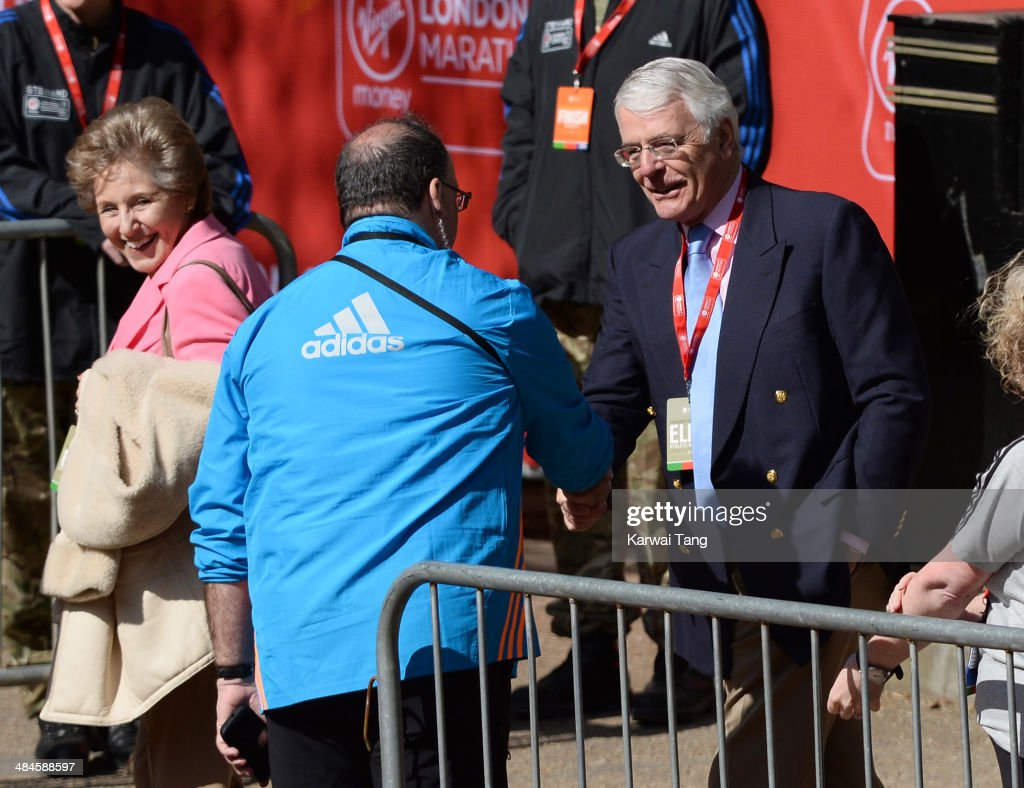 John Major and Norma Major attend the 2014 London Marathon on April 13 2014 in London England