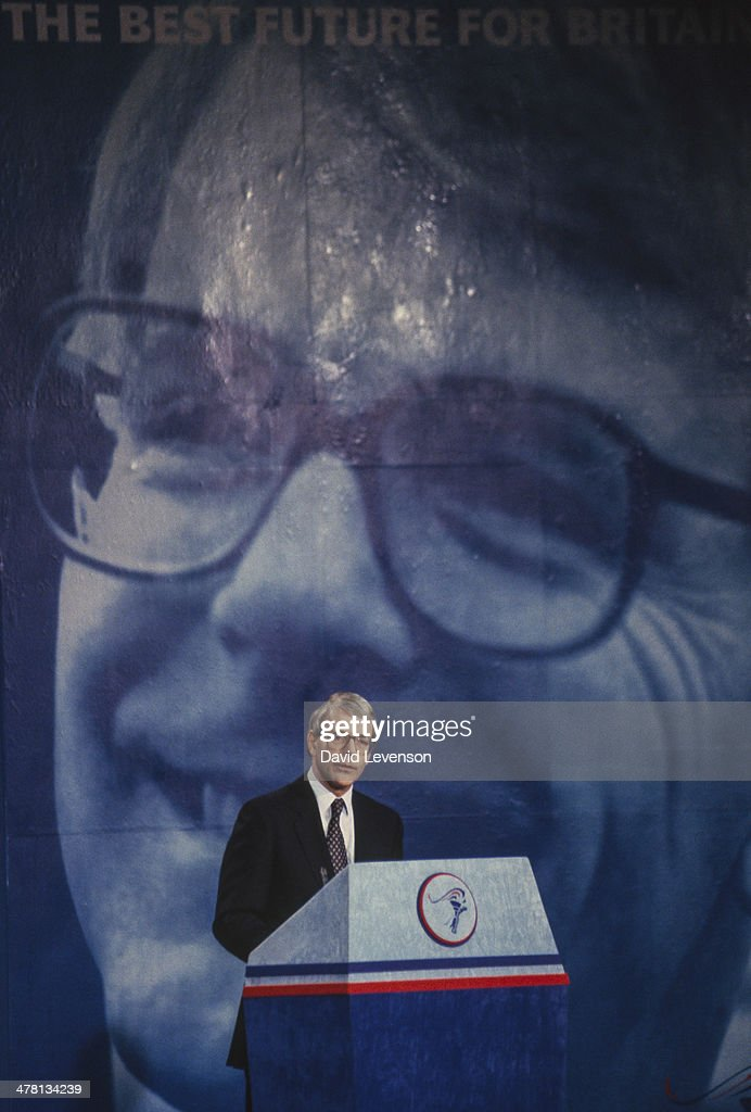 John Major British Prime Minister addresses a Conservative Party General Election Press Conference on March 18 1992 in London England
