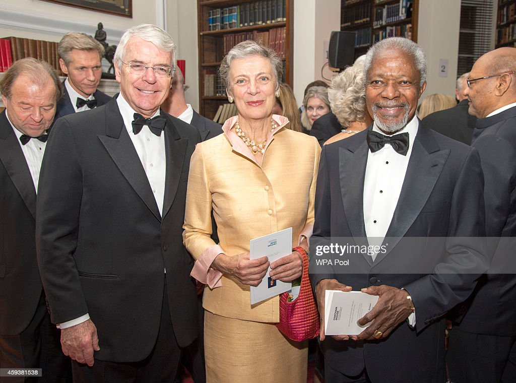 John Major, Kofi Annan and Nene Annan attend the RUSI (Royal United Services Institute) Chatham House (The Royal Institute of International Affairs) Prize 2014 presentation in the Banqueting House on November 21, 2014 in London, England.