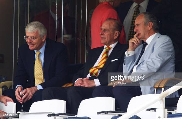 John Major Prince Philip the Duke of Edinburgh and Ted Dexter watch during day one of the First Test match between England and India at Lord's on...