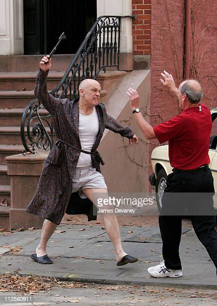 John Malkovich and Richard Jenkins on the set of 'Burn After Reading' on October 4 2007 in New York City