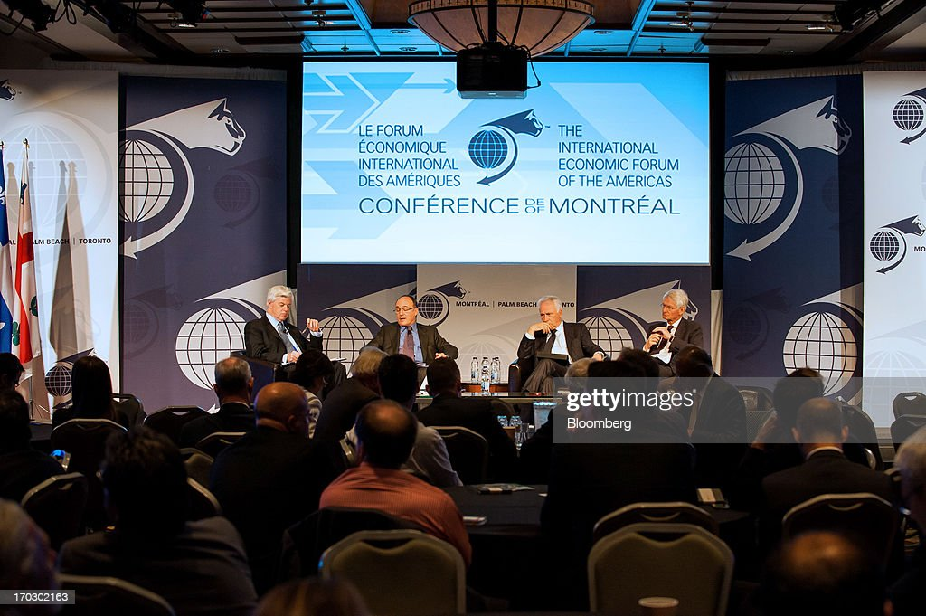 John Manley, president and chief executive officer of the Canadian Council of Chief Executives (CCCE), from left, Luis Maria Linde, governor of the Bank of Spain, Carlos Da Silva Costa, governor of the Bank of Portugal, and Jean-Pierre Danthine, vice president of the Banque Nationale de Suisse, participate in a panel discussion during the Conference Of Montreal in Montreal, Quebec, Canada, on Monday, June 10, 2013. The Conference of Montreal brings together Heads of State, the private sector, international organizations and civil society to discuss major issues concerning economic globalization, focusing on the relations between the Americas and other continents. Photographer: David Vilder/Bloomberg via Getty Images