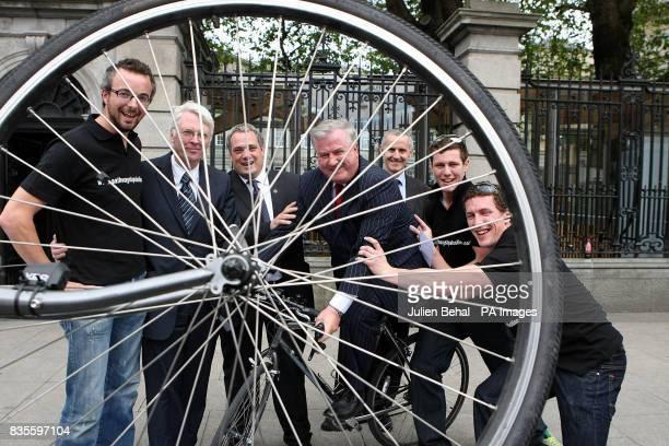John Mark Charlie O'Connor Aengus O'Snodaigh Terry Leyden Ciaran Cuffe Eoghan Quinn and Gearoid O'Cuinn during a photocall outside Leinster House in...