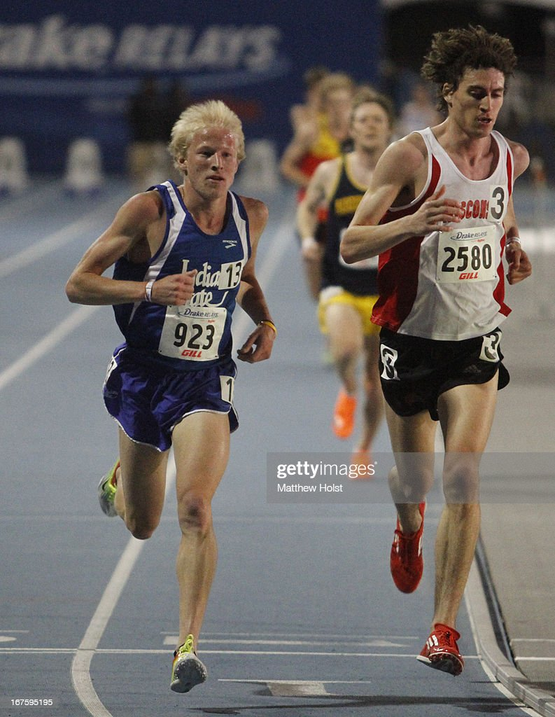 John Mascari of the Indiana State Sycamores races down the final stretch during the Men's 10000-meter competition at the Drake Relays, on April 25, 2013 at Drake Stadium, in Des Moines, Iowa.