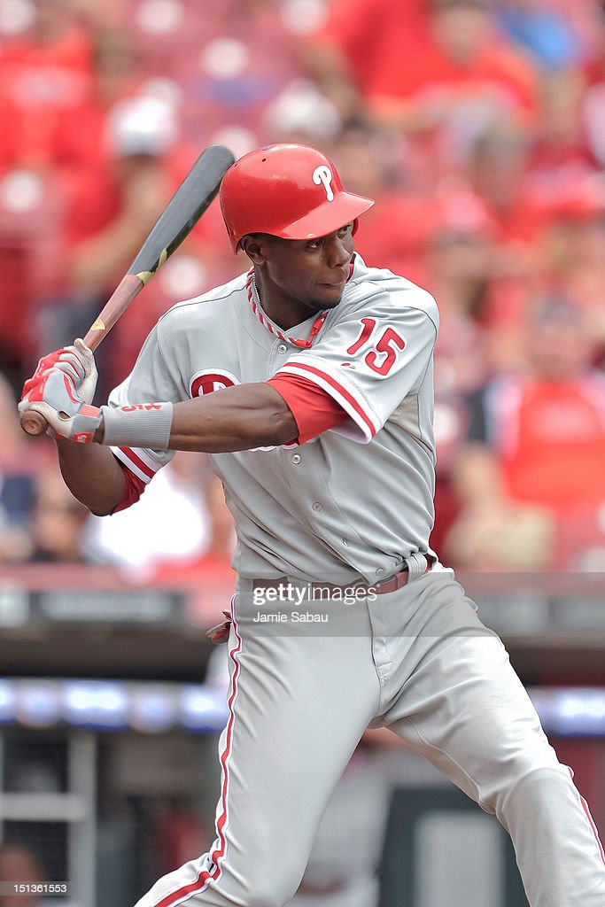 John Mayberry Jr. #15 of the Philadelphia Phillies bats against the Cincinnati Reds at Great American Ball Park on September 3, 2012 in Cincinnati, Ohio.