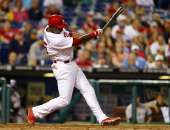 John Mayberry Jr #15 of the Philadelphia Phillies bats against the Colorado Rockies in a game at Citizens Bank Park on May 27 2014 in Philadelphia...